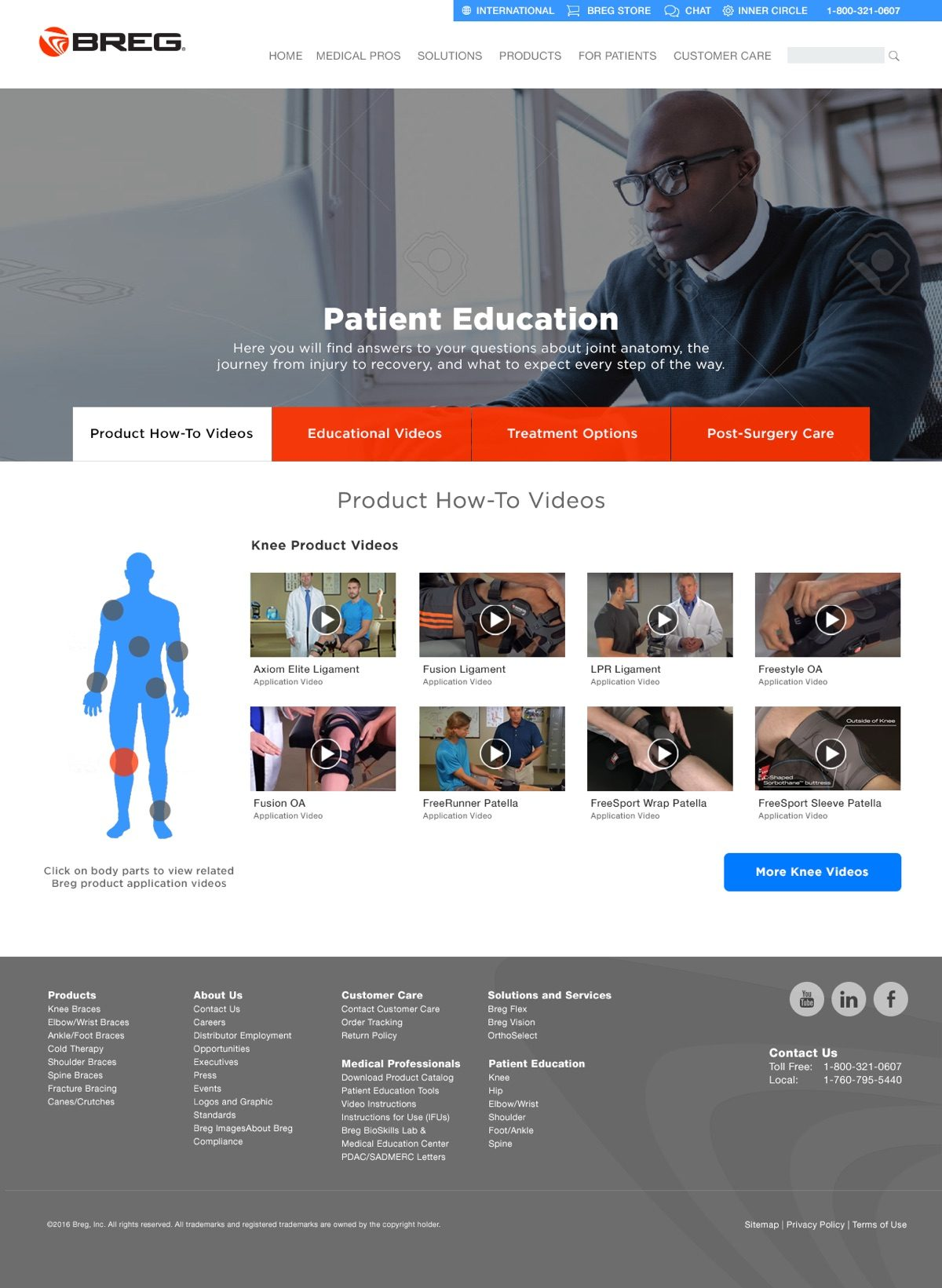 Breg.com Patient Education Landing