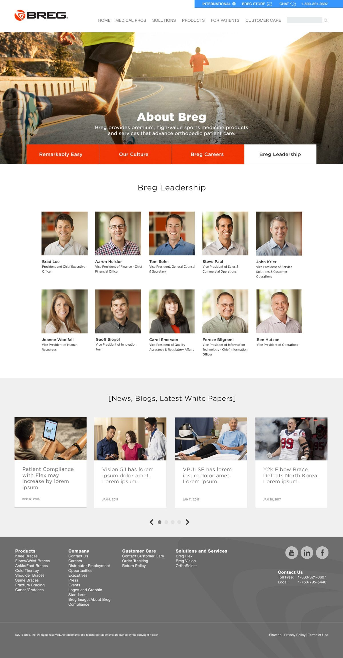 Breg About Us - Leadership Page