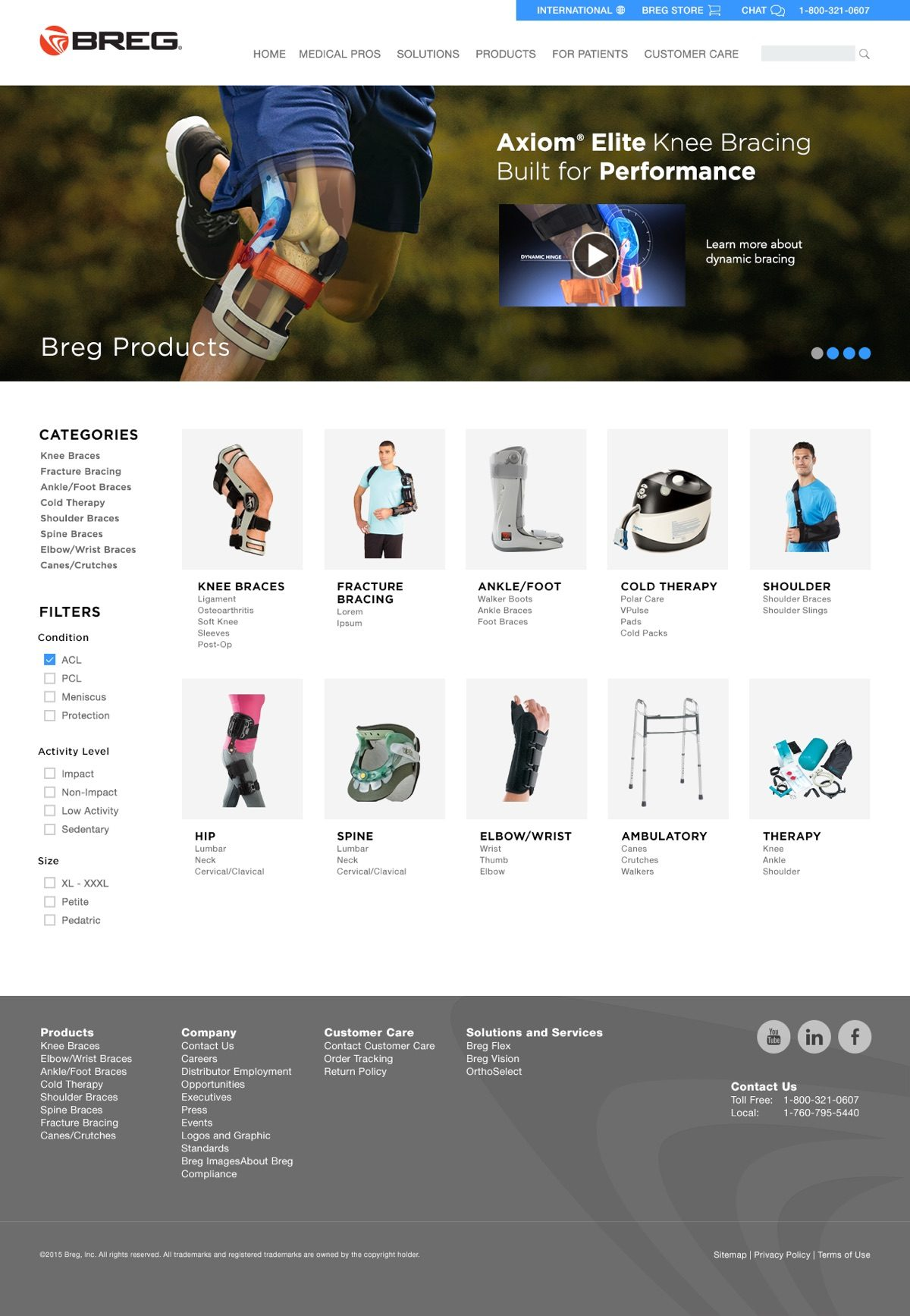 Breg.com Product Categories Page